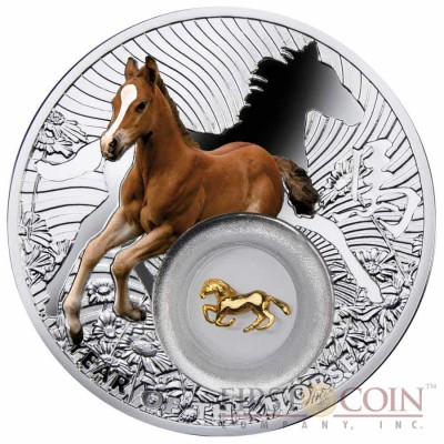 Niue Gilded The Year of Horse with Filigree Lunar Chinese Calendar 2013 Colored $2 Silver Coin
