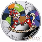 Niue Baby Rocking Horse The Year of Horse Lunar Chinese Calendar 2014 Colored $1 Silver Coin