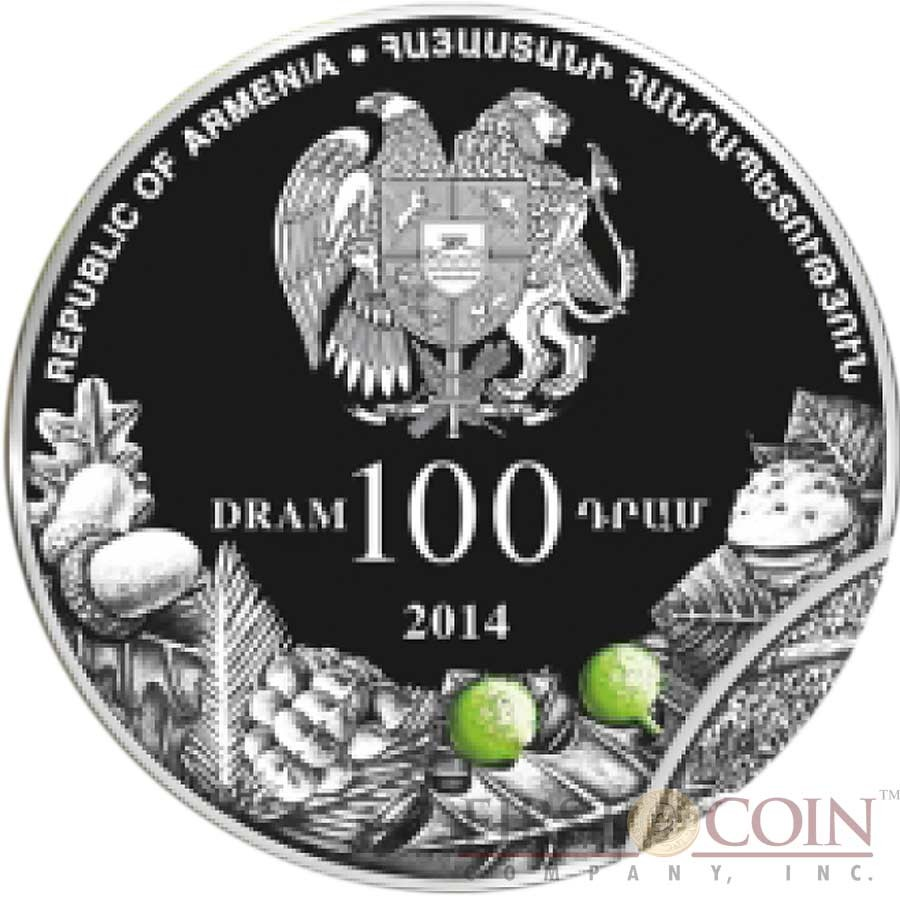Armenia SKHTORASHEN PLATANUS 100 Dram The Oldest Trees of the World series High Relief Colored Silver Coin 2014 Proof 1 oz