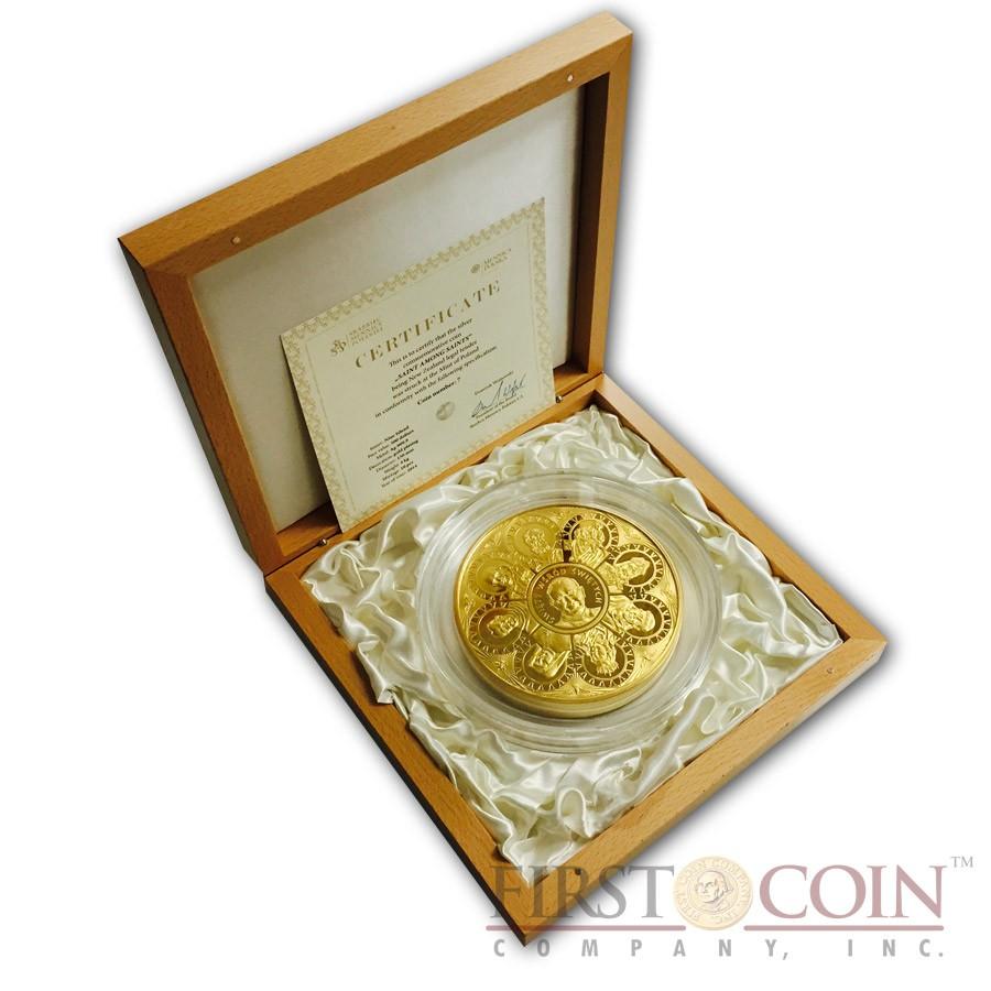 Niue Island The Saint among Saints Canonization Pope John Paul II $500 Silver Coin 2014 Pure Gold plating Proof 4 Kilo