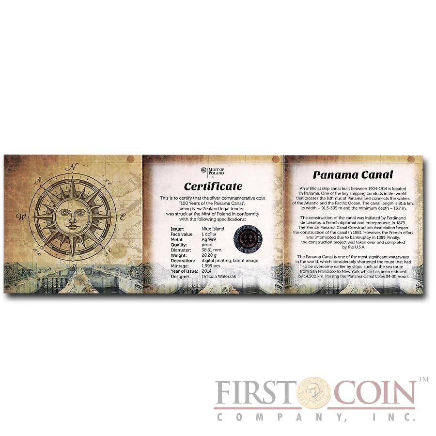 Niue Island 100th anniversary of the Panama Canal $1 Hologram Silver Coin Latent Image Proof 2014 with compass