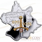 Niue Poland of Boleslaw Chrobry $1 Historical Maps of Poland series Gilded Colored Silver Coin Map shape 2014 Proof 1 oz