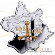 Niue Poland of Boleslaw Chrobry $1 Historical Maps of Poland series Gilded Colored Silver Coin Map shape 2014 Proof 1 oz