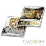 "Niue Birth of Venus by Sandro Botticelli Silver Coin ""Masterpieces of Renaissance"" Series $1 Colored 2014 Gilded Proof Square shape"