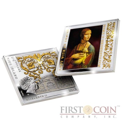 "Niue Lady with an Ermine Silver Coin Leonardo da Vinci ""Masterpieces of Renaissance"" Series $1 Colored 2012 Gilded Proof Square shape"