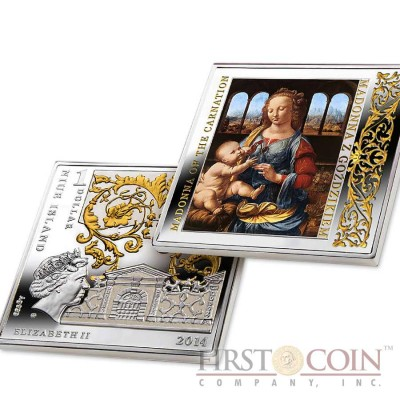 "Niue Madonna of the Carnation Silver Coin Leonardo da Vinci ""Masterpieces of Renaissance"" Series $1 Colored 2014 Gilded Proof Square shape"