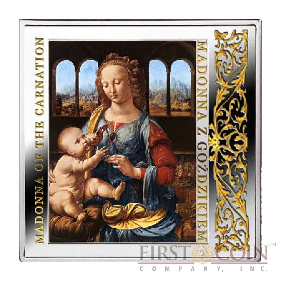 "Niue Madonna of the Carnation Silver Coin Leonardo da Vinci ""Masterpieces of Renaissance"" Series $1 Colored 2014 Gilded Proof Square shape"