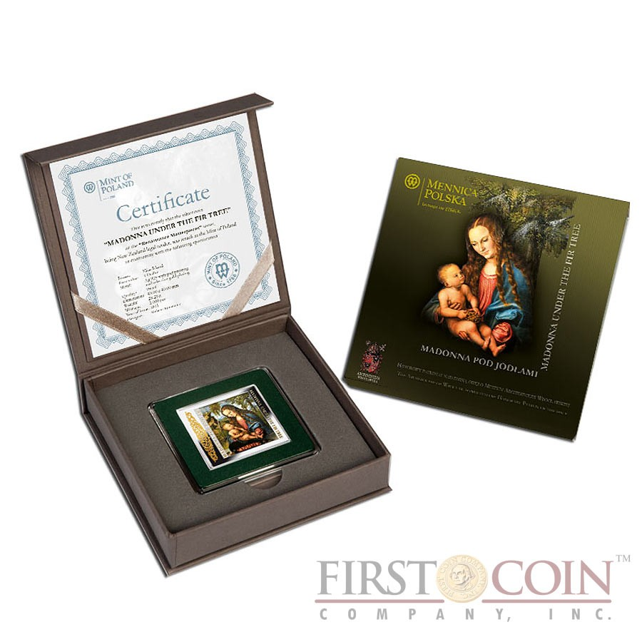 """Niue Madonna under the Fir Tree Silver Coin Lucas Cranach """"Masterpieces of Renaissance"""" Series $1 Colored 2013 Gilded Proof Square"""