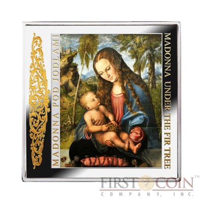 "Niue Madonna under the Fir Tree Silver Coin Lucas Cranach ""Masterpieces of Renaissance"" Series $1 Colored 2013 Gilded Proof Square"