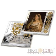 "Niue Woman with the Veil by Raphael Silver Coin ""Masterpieces of Renaissance"" Series $1 Colored 2014 Gilded Proof Square shape"