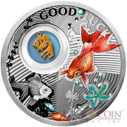 Niue Goldfish LUCKY COINS Silver Coin Symbols of Luck Series $1 Colored 2014 Proof with Silver Gold-plated Filigree Insert