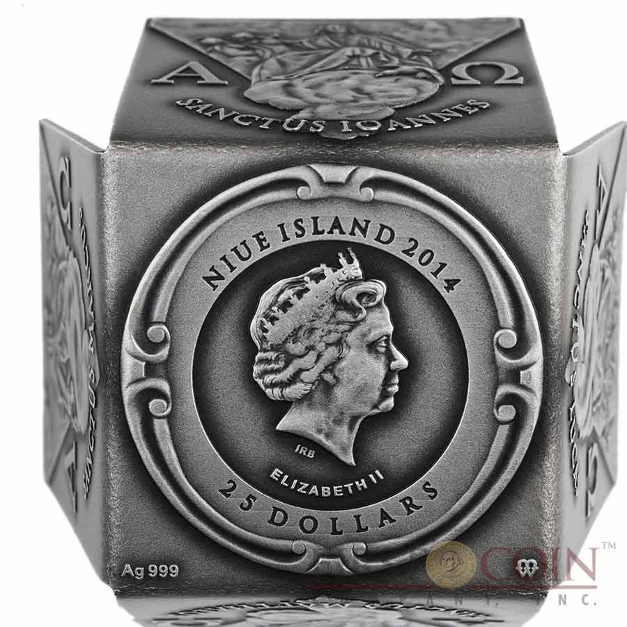 Niue Island POPE JOHN PAUL II Canonization series OPEN CUBE SHAPED 12 sides $25 Silver coin 2014 Antique finish 7 oz