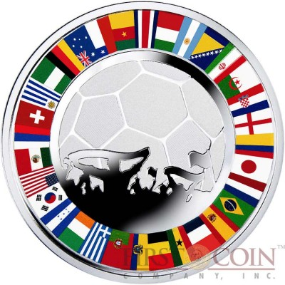 Niue Island Soccer $2 Colored Silver coin 2014 Proof 1 oz