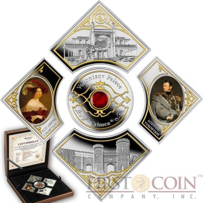 Niue Island VORONTSOV PALACE. CRIMEA $10 Five Gilded Colored Silver coin set Carnelian insert Proof 2014 ~ 2.62 oz