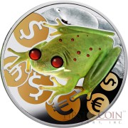Niue MONEY FROG $2 Silver Coin High Relief Ambers Colored 1 oz Proof 2015