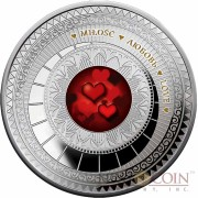 Niue Island LOVE THE WORLD OF YOUR SOUL Series Silver coin Red Hearts $1 Colored Proof 2015