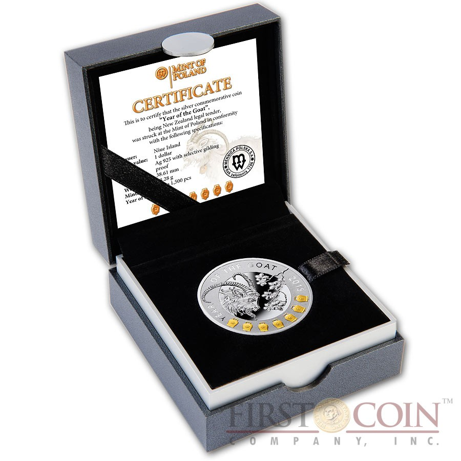 Niue Island Year of the Goat with Seven Bells Lunar Calendar $1 Gilded Silver Coin Proof 2015