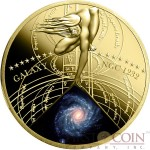 Niue Island SPIRAL GALAXY NGC 1232 $0.50  The Most Beautiful Galaxies Series Gilded Colored Brass coin 2015 Proof