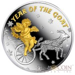 Niue Year of the Goat with Angel Lunar Calendar $1 Gilded Silver Coin Proof 2015