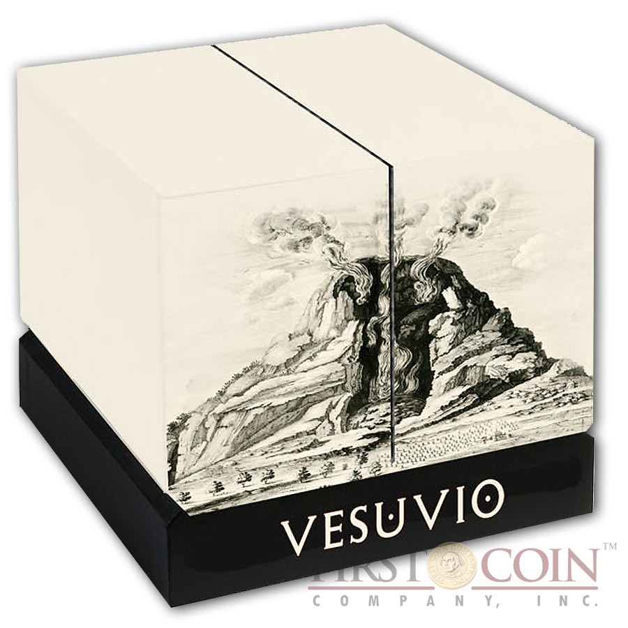 Niue Island MOUNT VOLCANO VESUVIUS POMPEII ITALY Silver coin $30 VOLCANO SHAPE Innovative minting 2016 Antique finish 6 oz