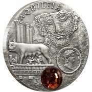 Niue Island AQUILEIA series AMBER ROUTE $1 Silver Coin 2011 Antique finish Amber inlay