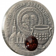 Niue Island ELBLAG series AMBER ROUTE $1 Silver Coin 2009 Antique finish Amber inlay