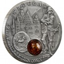 Niue Island WROCLAW series AMBER ROUTE $1 Silver Coin 2009 Antique finish Amber inlay