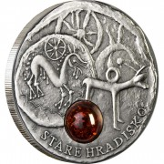 Niue Island HRADISKO series AMBER ROUTE $1 Silver Coin 2010 Antique finish Amber inlay