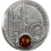 Niue Island SZOMBATHELY series AMBER ROUTE $1 Silver Coin 2010 Antique finish Amber inlay