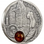 Niue Island CARNUNTUM series AMBER ROUTE $1 Silver Coin 2011 Antique finish Amber inlay