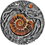 Niue Island AMMONITE PREHISTORY $5 Silver Coin High Relief Antique finish 2019 Real Ammonite 2 oz