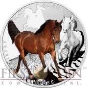 Niue Island ARABIAN HORSE Silver Coin Man's best friends - HORSES Series $1 Colored 2015 Proof