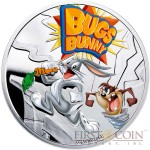 Niue Bugs Bunny $1 Silver Coin Cartoon Characters series Colored 2014 Proof
