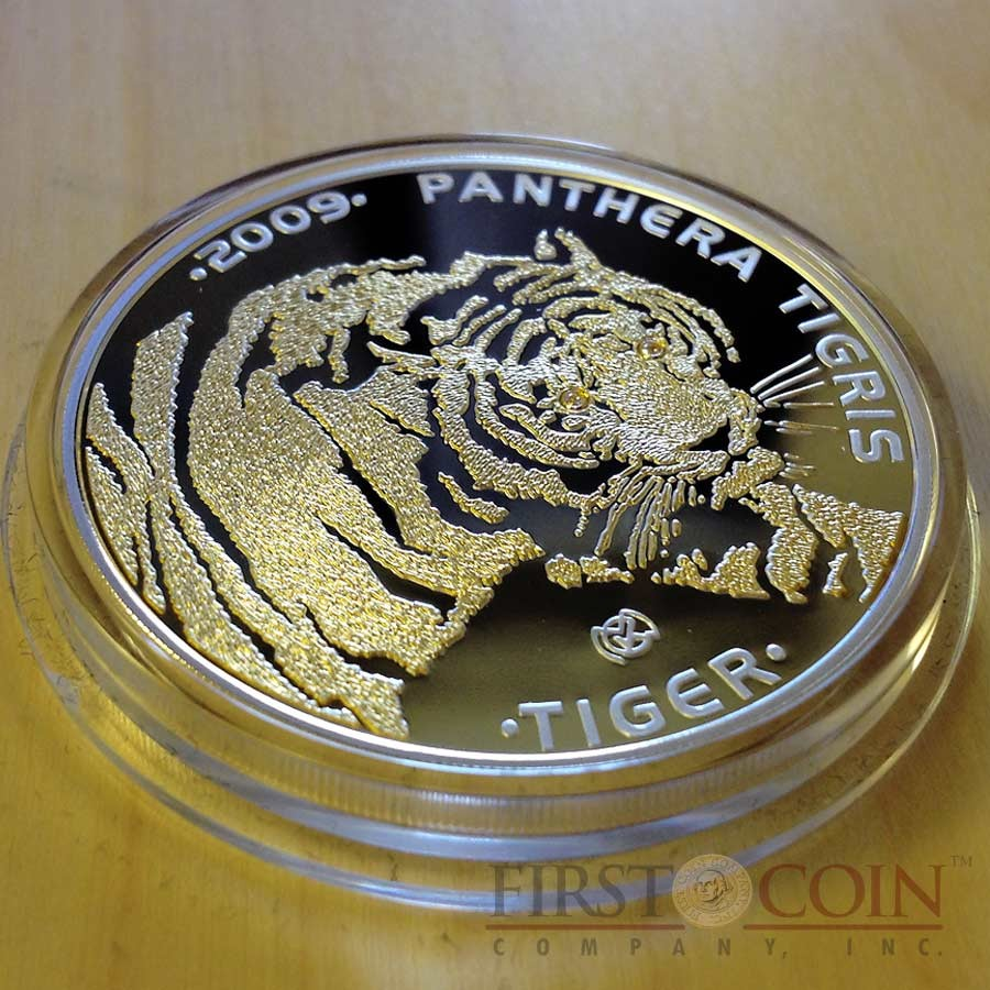 Kazakhstan Tiger 100 Tenge Silver Coin Disappearing Animals series Gilded 2009 Proof with 2 Diamonds 1 oz