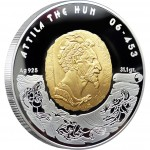 Kazakhstan Silver Coin Attila Great Commanders Series 100 Tenge Gold plated 2009 Proof 1 oz