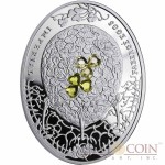 Niue Island Clover Leaf Egg $2 Imperial Faberge Eggs 56.56 g series Silver Coin 2010 Oval  Zircons Proof 1.8 oz