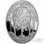 Niue Island Lily of the Valley Egg $2 Imperial Faberge Eggs 56.56 g series Silver Coin 2010 Oval  Swarovski Crystals Proof 1.8 oz