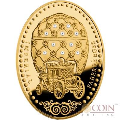 Niue Island Coronation Egg $2000 Imperial Faberge Eggs 311 g series Gold Coin 2012 Oval 10 White Diamonds Shape Proof 10 oz