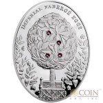 Niue Island Bay Tree Egg $2 Imperial Faberge Eggs 56.56 g series Silver Coin 2012 Oval 4 Zircons Proof 1.8 oz