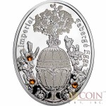 Niue Island Bouquet of Lilies Clock Egg $1 Imperial Faberge Eggs 16.81 g series Gilded Silver Coin 2012 Oval Shape Proof Swarovski Crystals ~ 0.54 oz