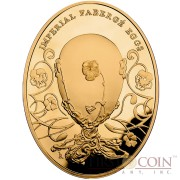 Niue Island Pansy Egg $100 Imperial Faberge Eggs 93.30 g series Gold Coin 2012 Oval Proof 3 oz