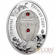Niue Island Rosebud Egg $1 Imperial Faberge Eggs 16.81 g series Silver Coin 2012 Oval Shape Proof Swarovski Crystals 0.54 oz