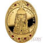 Niue Island Moscow Kremlin Egg $100 Imperial Faberge Eggs 93.30 g series Gold Coin 2013 Oval 6 Red Swarovski Crystals Proof 3 oz