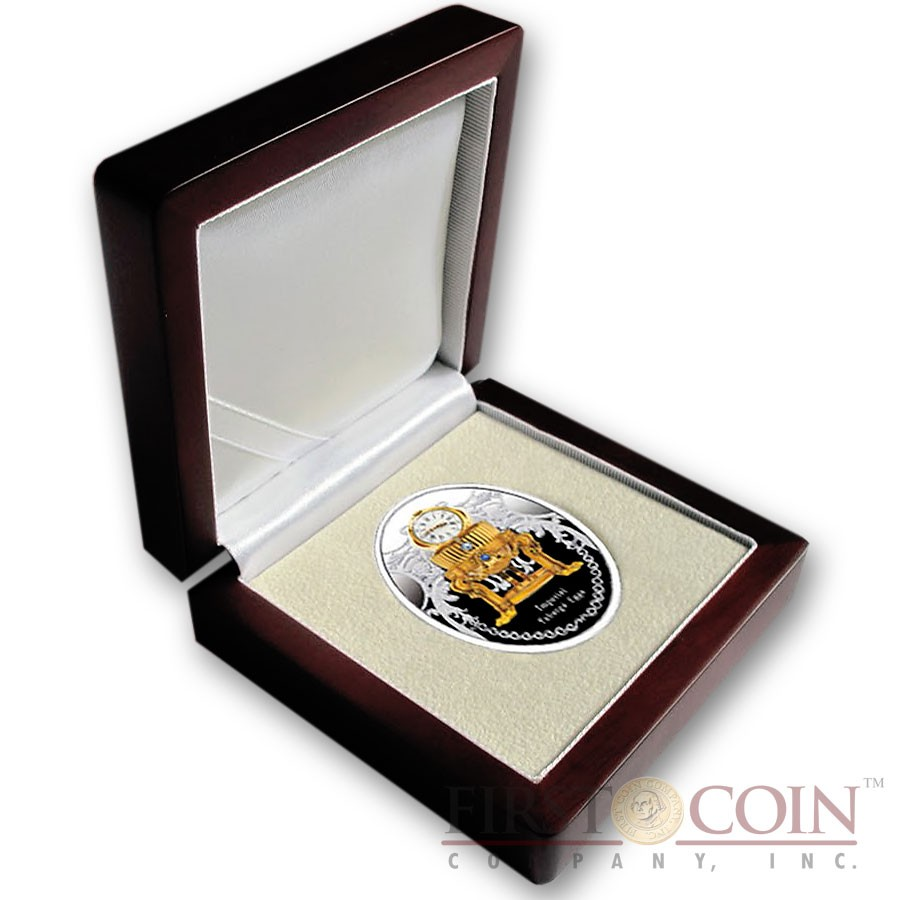 Niue Island Third Imperial Egg $1 Gilded Imperial Faberge Eggs 16.81 g series Silver Coin 2015 Oval Shape Proof 0.54 oz
