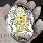 Niue Island THIRD EGG FABERGE $40 Gilded Imperial Faberge Eggs 250 g series Silver Coin 2015 Oval Shape Proof Swarovski Crystals 8 oz