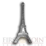 British Virgin Islands Eiffel Tower shape coin 125th Anniversary 2014 Nickel Silver plated coin Proof-Like