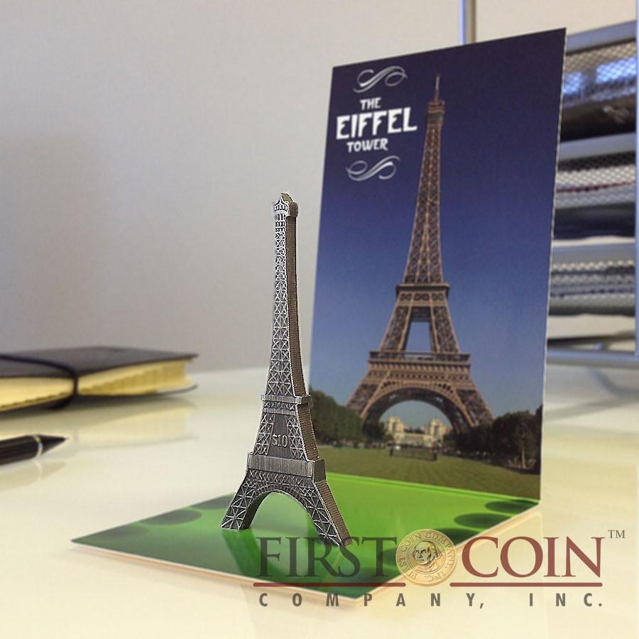 British Virgin Islands Eiffel Tower 125th Anniversary $10 Silver coin 2014 Antique finish 1 oz