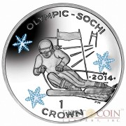 "Isle of Man - Great Britain Alpine Skiing Silver Coin ""Sochi Winter Olympics"" Series 1 Crown Colored 2014 Proof ~1oz"