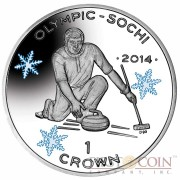 "Isle of Man - Great Britain Curling Silver Coin ""Sochi Winter Olympics"" Series 1 Crown Colored 2014 Proof ~1oz"