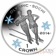 "Isle of Man - Great Britain Figure Skating Silver Coin ""Sochi Winter Olympics"" Series 1 Crown Colored 2014 Proof ~1oz"